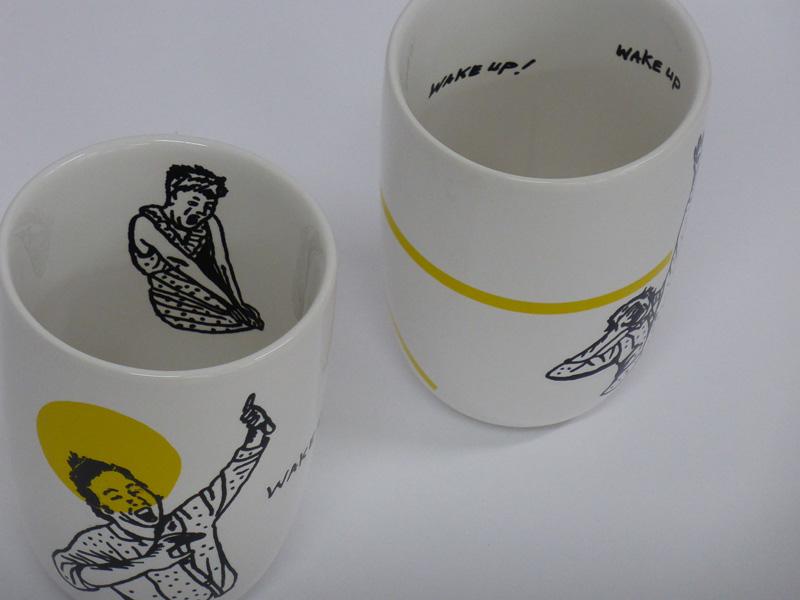 Wake up!, mugs, 2015, silkscreen printed ceramic transfers