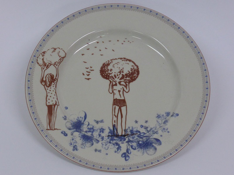 Garden lovers, 2014, plate, silkscreen printed ceramic transfer