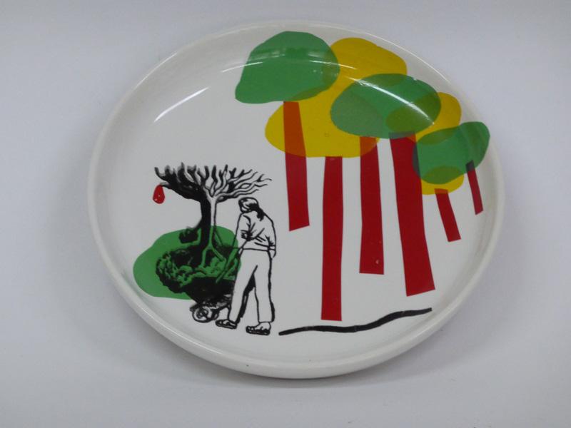 Garden lovers, 2015, small plate, silkscreen printed ceramic transfers