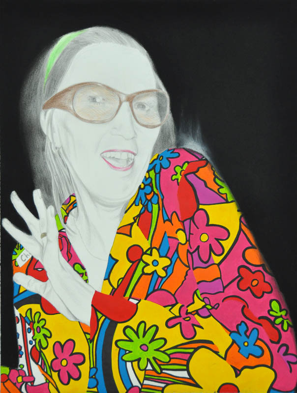 Chi, Party people, Hippie party 2011, 56x78 cm, pencil + acrylic paint drawing