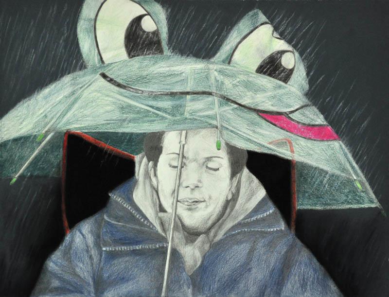 It's raining again, Party people, fcc, 2012, it's raining again, 56x78 cm., pencil +soft pastel drawing