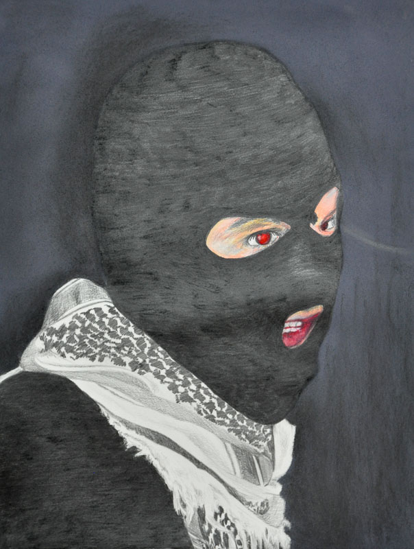 Terrorist, Party people, Halloween 2012, 56x78 cm, pencil + soft pastel drawing