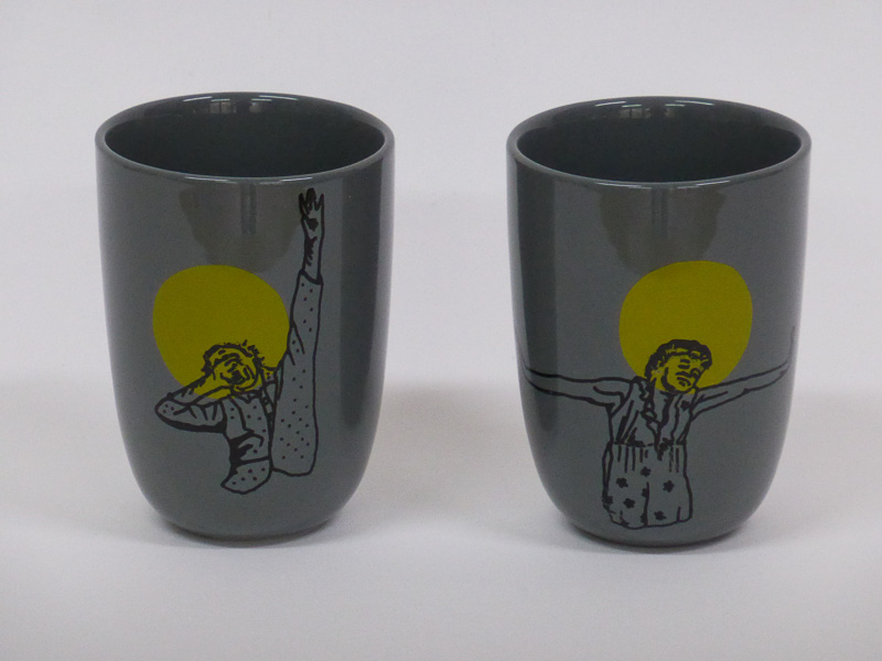 Wake up!, mugs, 2015, silkscreen printed ceramic transfers