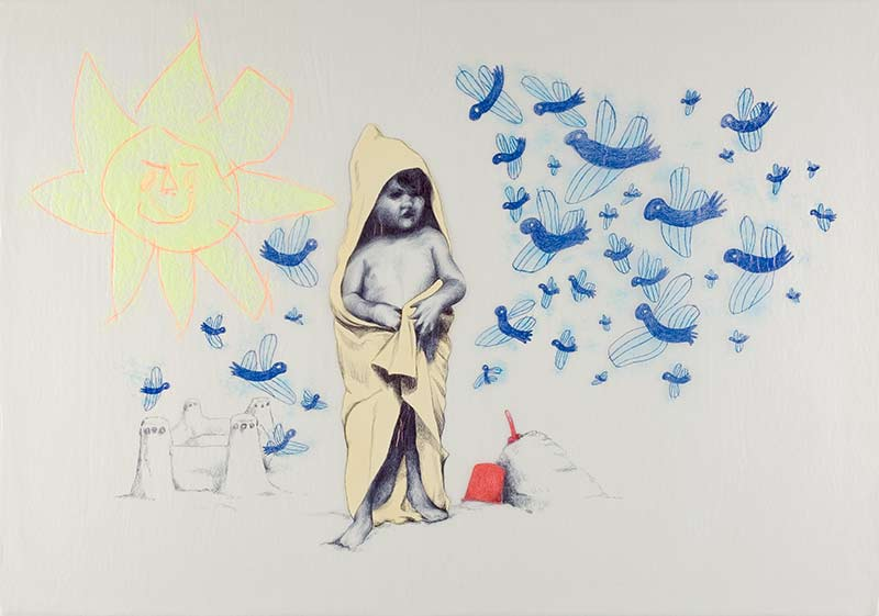 At the beach, 1998, 75x100 cm., ballpoint, drawing on kite paper