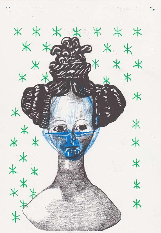 Masks,1, riso, A4, 2015