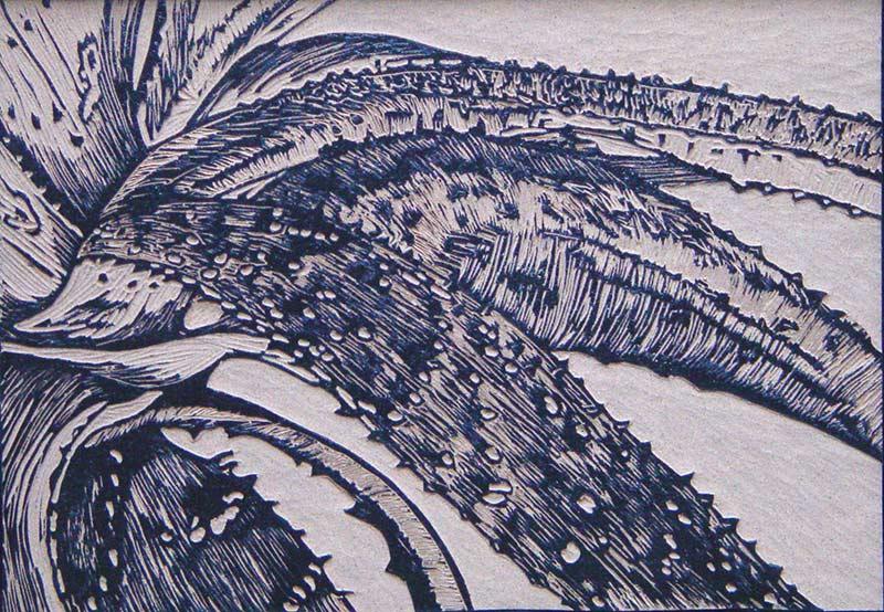 Prickly, 26,5x37,5 cm, 2003, lino-cut