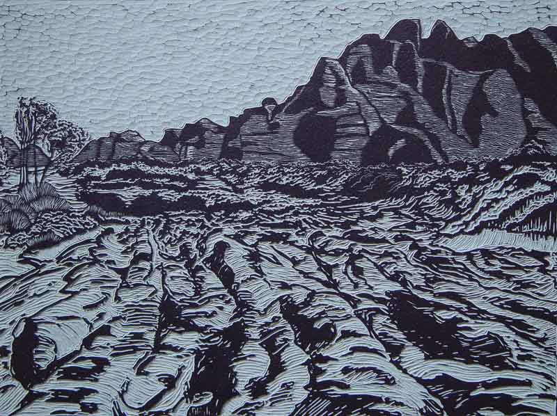 Bungle bungles 3, linocut, 53,5 x 70,5 cm., 2001