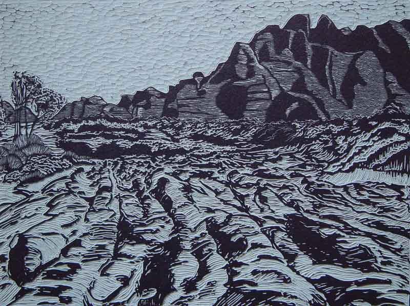 Bungle bungles 3, linocut, 53,5 x 70,5 cm., 2001