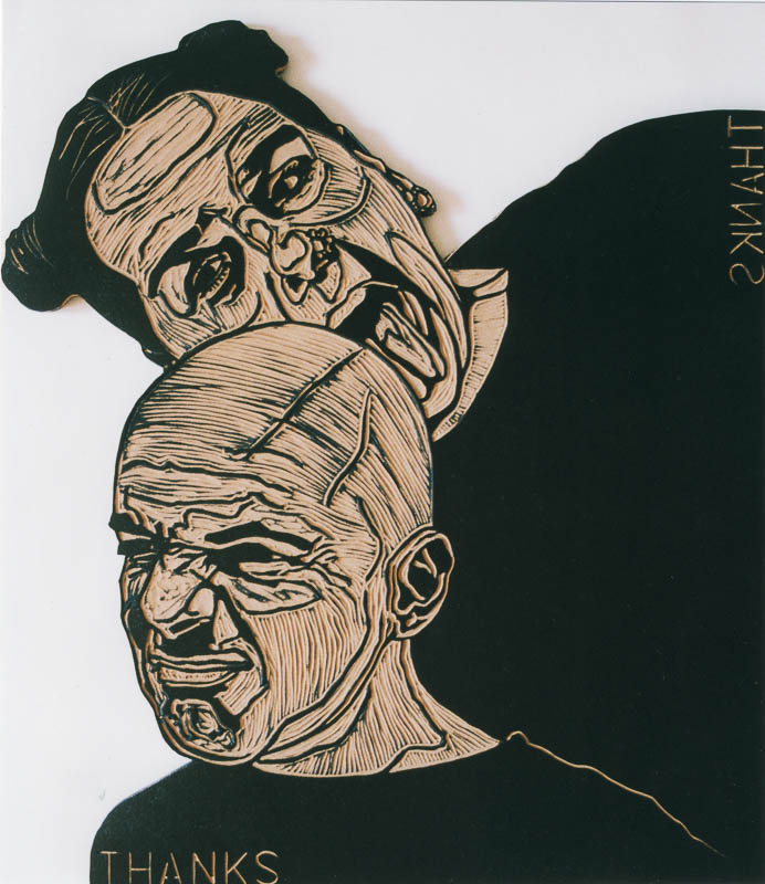 dialogen 2, thanks, 2000, lino cut, 120x120 cm.