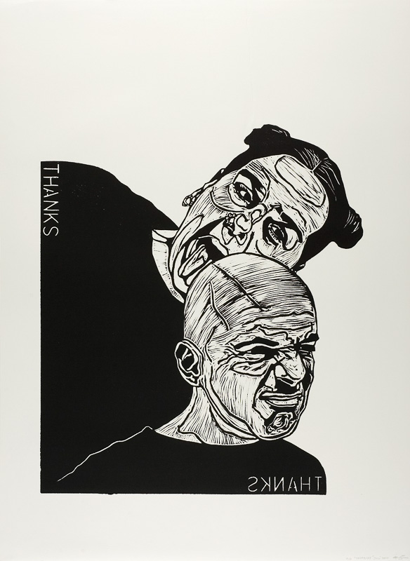 dialogen 2, thanks, lino print on paper, 2000, 100x120 cm.