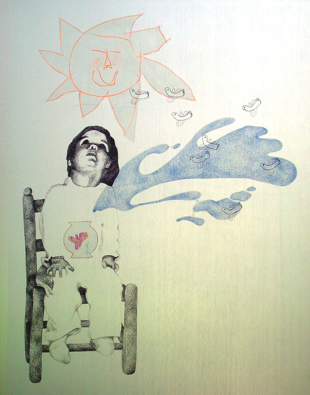 droom, 1998, 75x100 cm., ballpoint drawing on kite paper