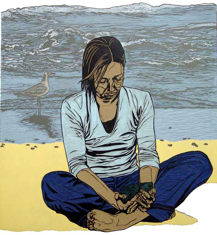 Friends, Miriam, linocut, 100x103 cm., 2005