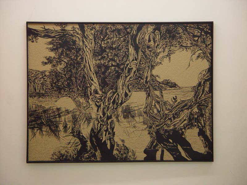 Norman's beach, the bay, lino-cut, 183x138,5 cm, 2004