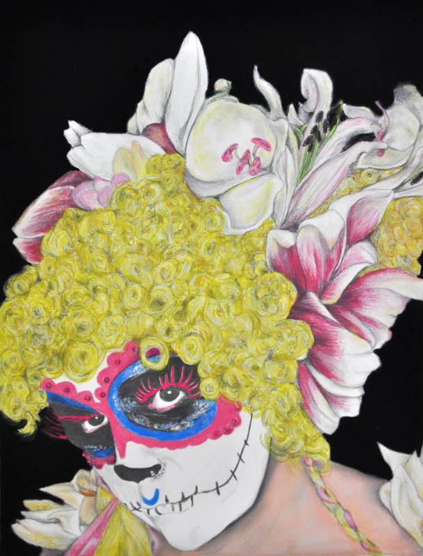 Sugar (skull) bride, Halloween 2013, 56x78 cm., pencil + soft pastel drawing