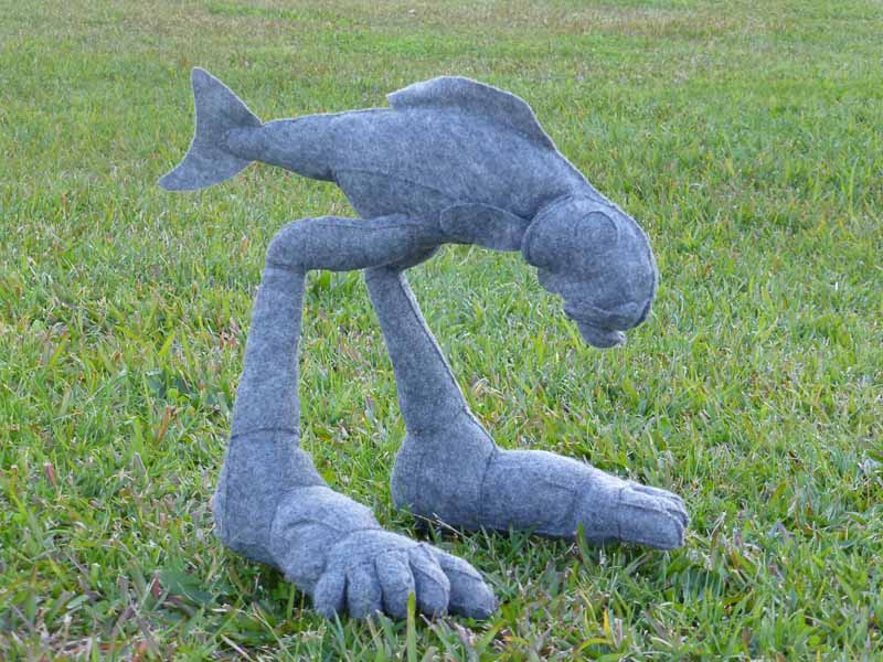 walking fish on grass, felt, 40 cm. high, 2013