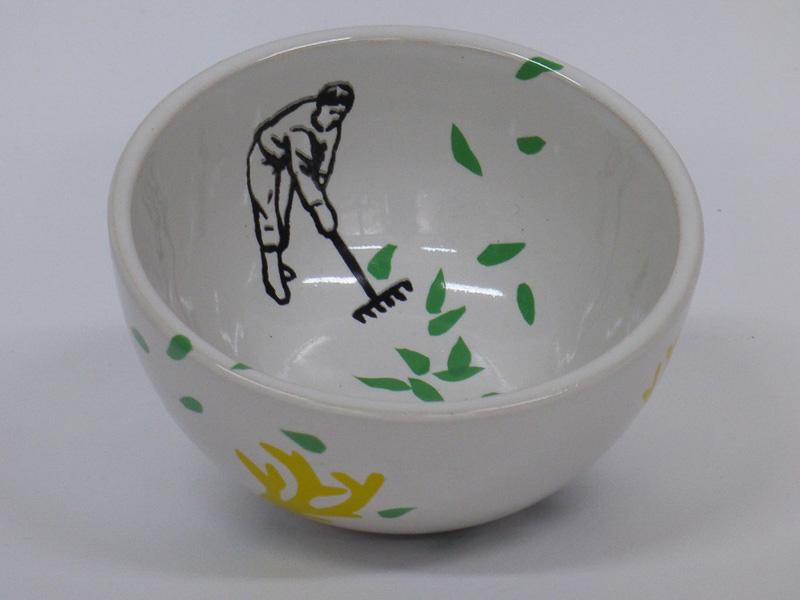 Garden lovers, 2015, small dish, silkscreen printed ceramic transfers