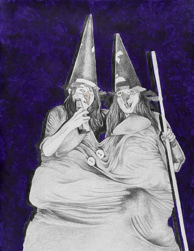 Twin witch, Party people, Horrofriends, pencil, drawing with acrylic paint, 2004, 56x78 cm