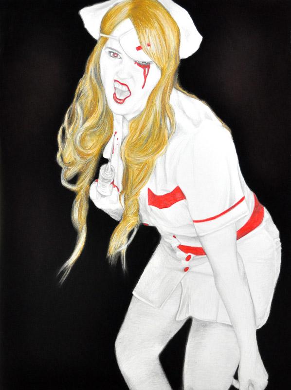 Kill Bill nurse, Halloween, pencil + soft pastel drawing, 2010, 56x78 cm.