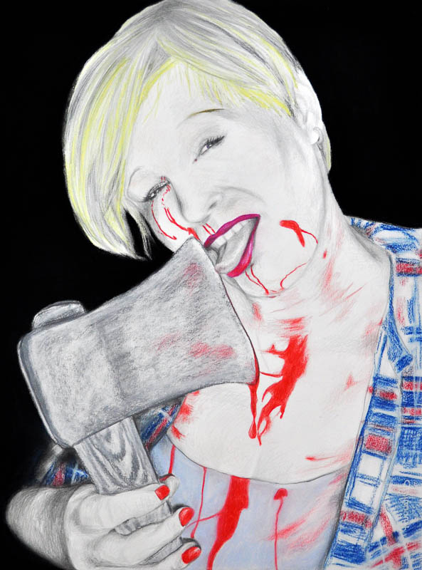 Axe lover, Party people, Halloween 2010, 56x78 cm, pencil +soft pastel drawing