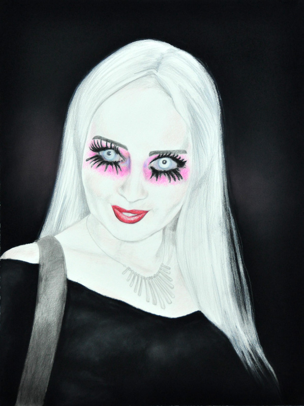 Blind Meg, Party people, Halloween 2011, 56x78 cm., pencil + soft pastel drawing