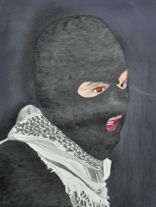 Terrorist, Party people, Halloween 2012, 56x78 cm, pencil + soft pastel drawing