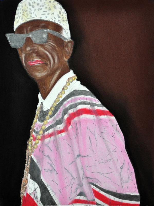 Halle Selassie, Party people, Heavenly Celebrities, 56x78 cm., pencil + soft pastel drawing