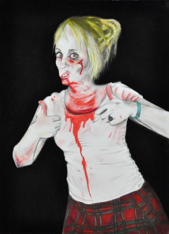 The food is good!, Party people, Halloween 2011, 56x78 cm., pencil + soft pastel drawing