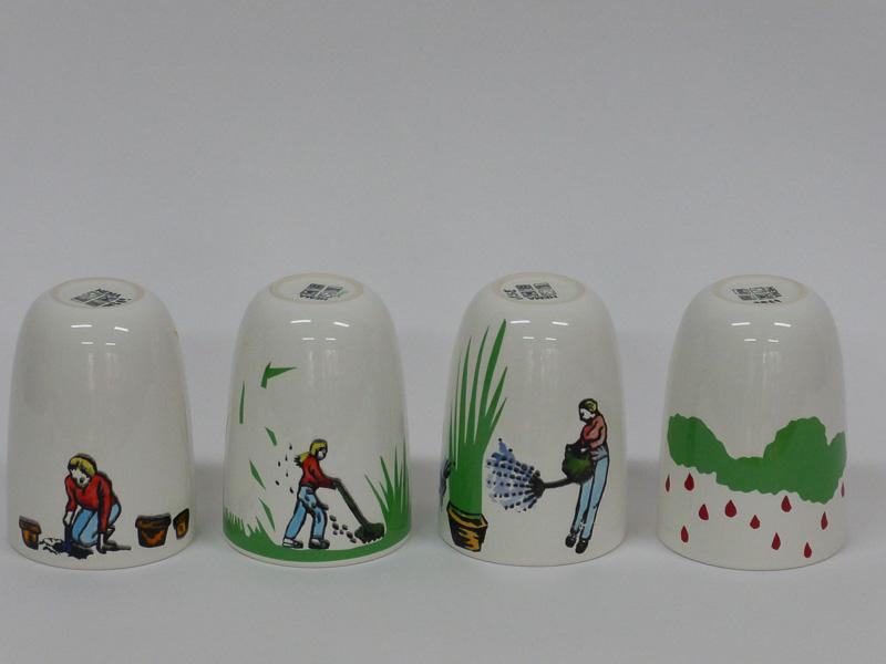 Garden lovers, 2015, 4 mugs, silkscreen printed ceramic transfers