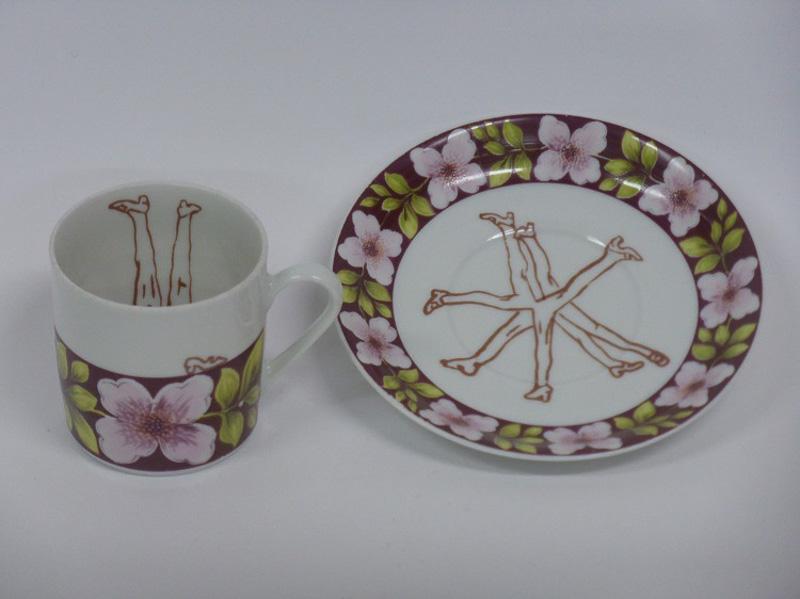 Garden lovers, 2014, cup & saucer, silkscreen printed ceramic transfer