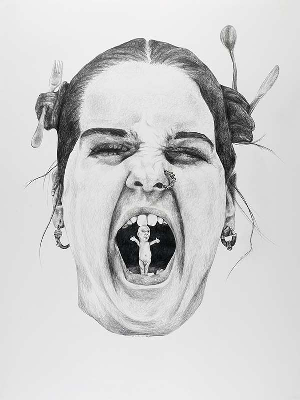 I could eat you, 1999, 75x100 cm., pencil drawing