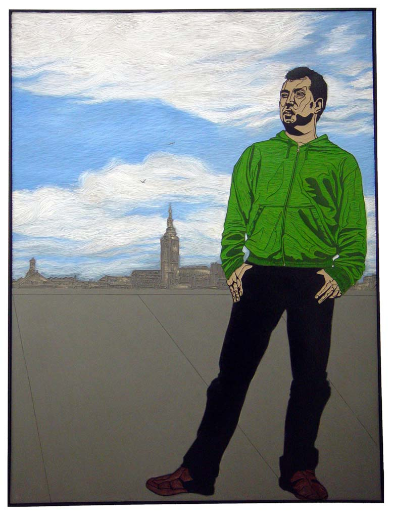 Quinten, Friends, 2005, lino-cut, 200x120 cm.