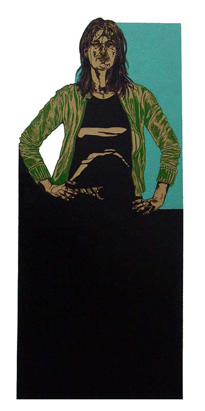 Stefanie, Friends, 2005, linocut, 175x;70-cm.