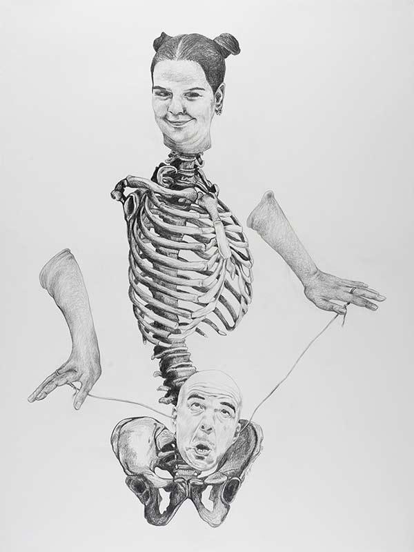 strings, 1999, 75x100 cm., pencil drawing