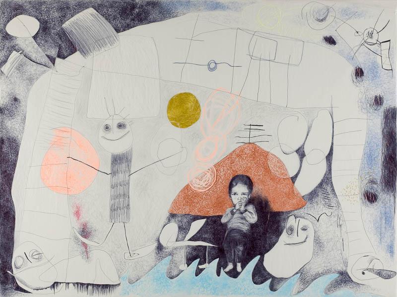 bijna bedtijd, 2006, ballpoint drawing on kite paper, 100x75 cm