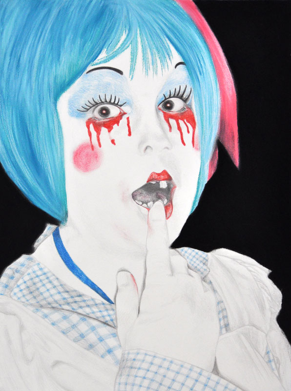 Candy doll, Halloween 2010, 70x110 cm., pencil + soft pastel drawing