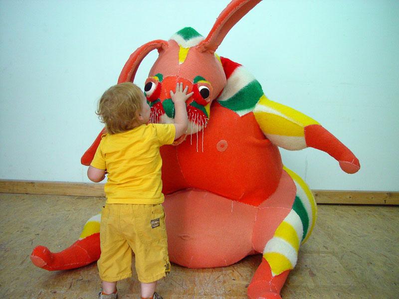 Clown rabbit (with Boris), 2008, blanket statue
