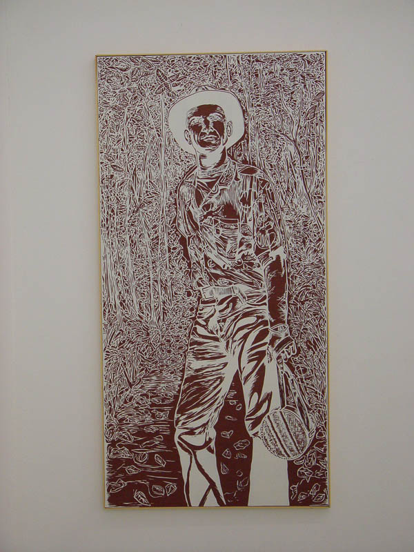 Craig or the ghost of adventure, lino-cut, 185 x 90 cm., 2004
