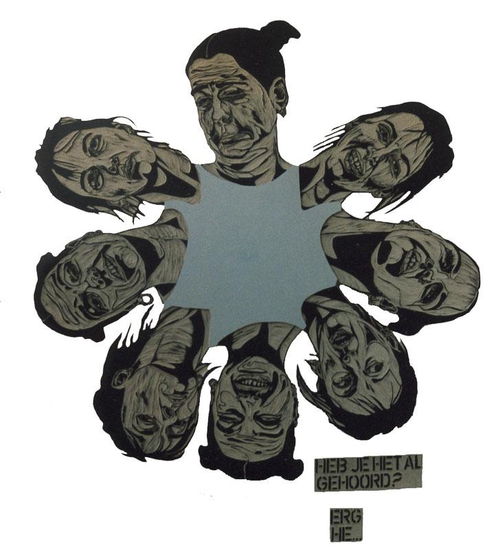 dialogen 1, erg hè, 1998, lino cut, 200x200 cm.