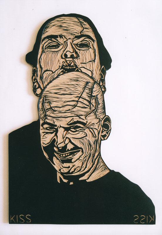 dialogen 2, kiss kiss, 2000, lino cut, 120x70 cm