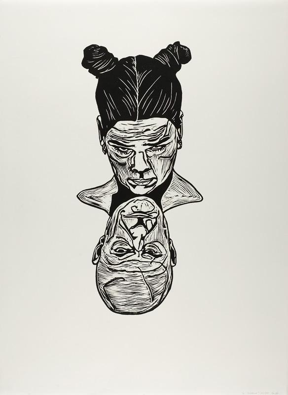 dialogen 2, opposites, lino print on paper, 2000, 100x120 cm.