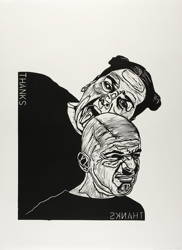 dialogen 2, thanks, lino print on paper, 2000, 100x120 cm.