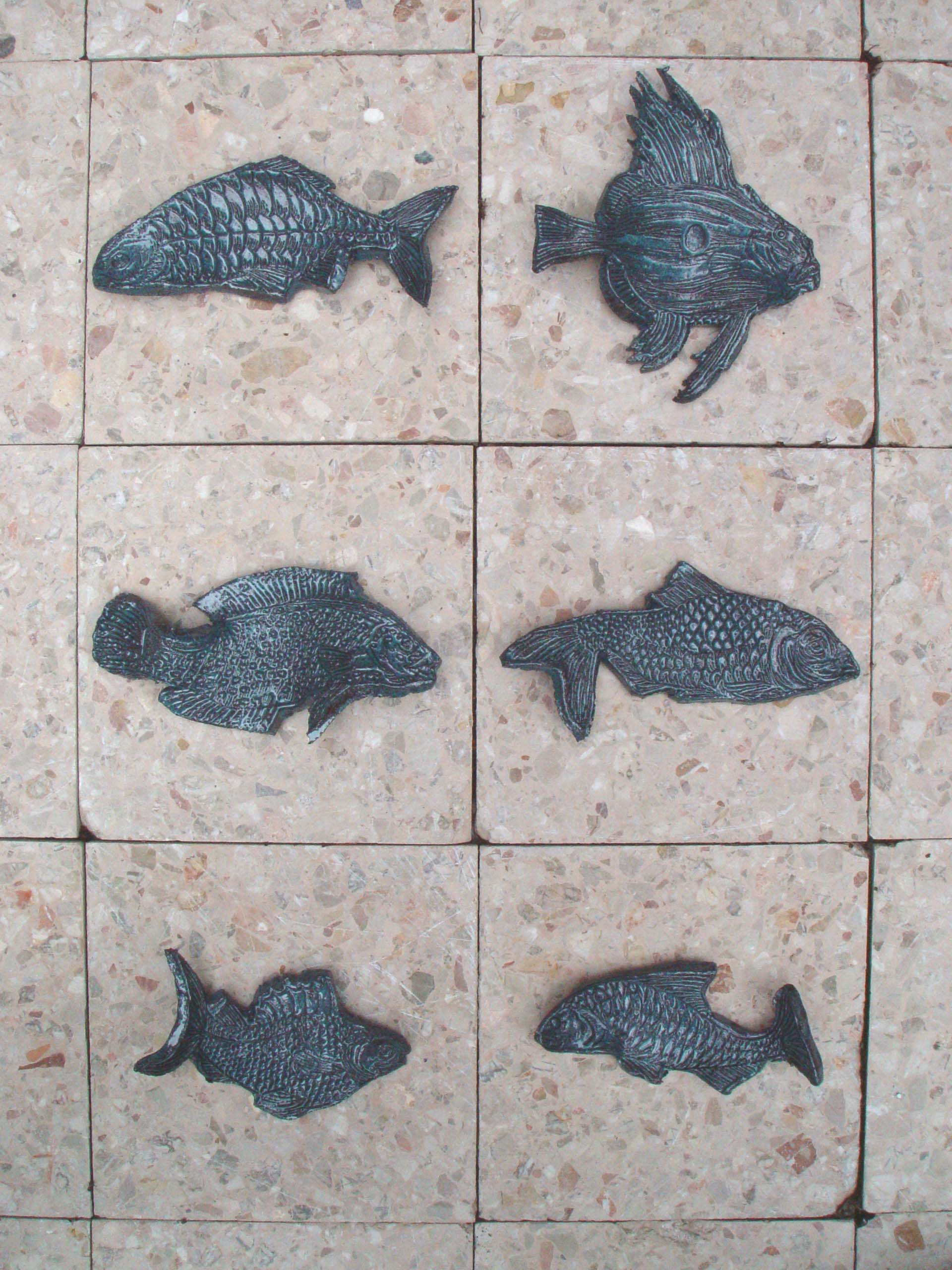 flat fishes (6), clay prints, 2004