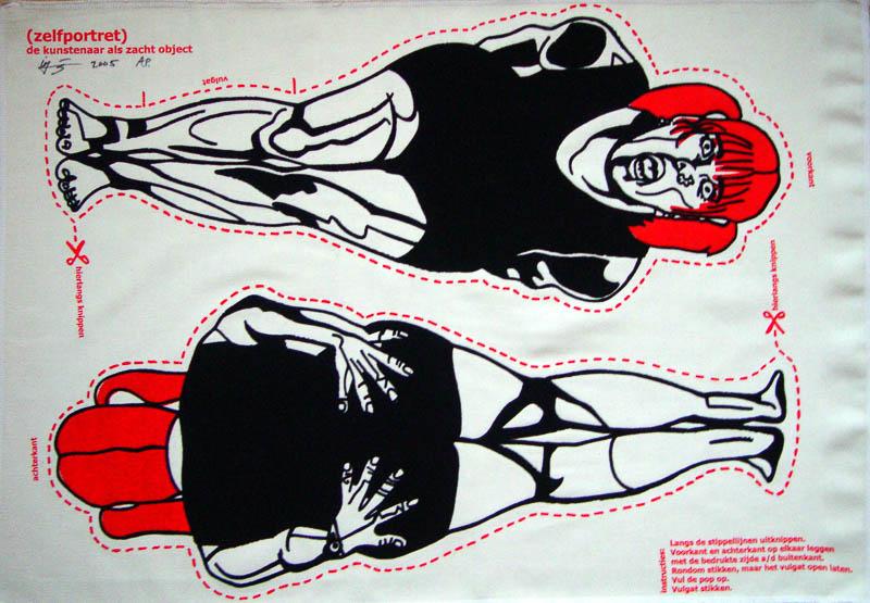 Friends, donateursprent, silkscreen (flock) print an fabric, 2005