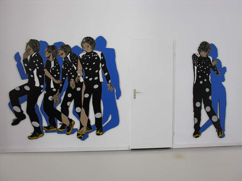 Friends, Hans, linocut, 190 x 300 cm. , 2005, at the home of Hans