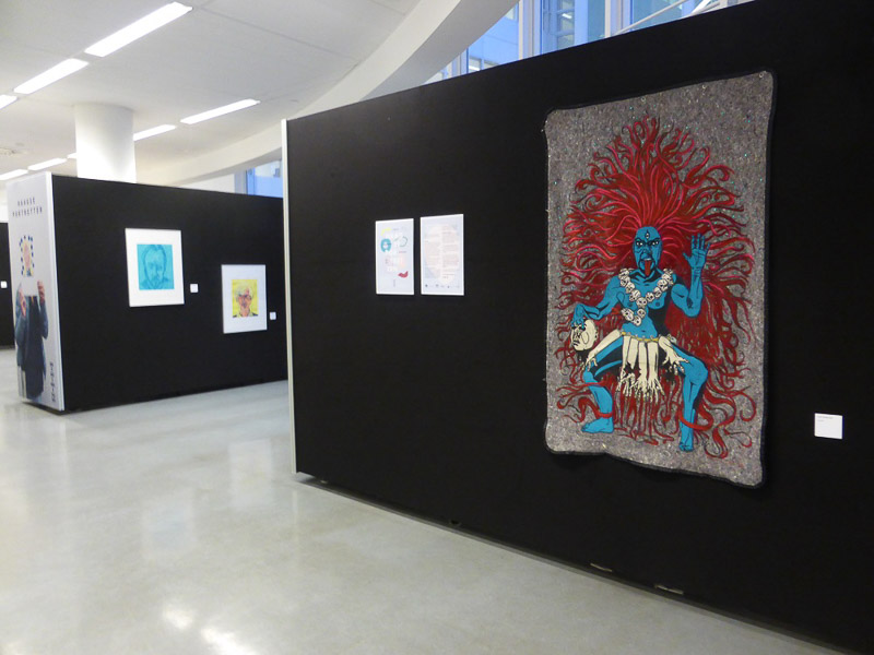 My inner Kali at Haagse portretten  dec. 2016 final exhibition at the central library, den haag lino-print on blanket with appliqué, embroidery and needle felting