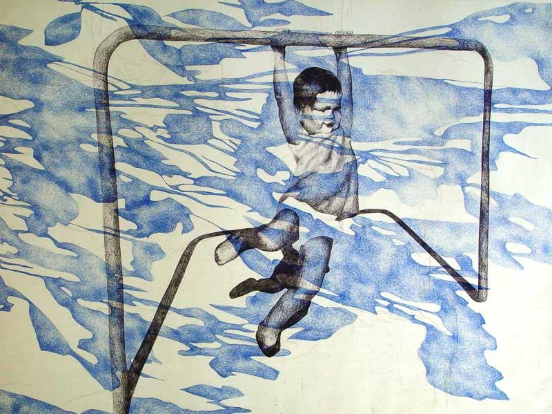 klimrek, 1998, 75x100 cm., ballpoint drawing on kite paper