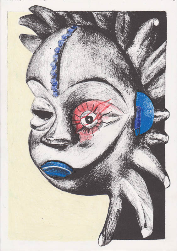 Mask 2015 A4 riso print with drawing