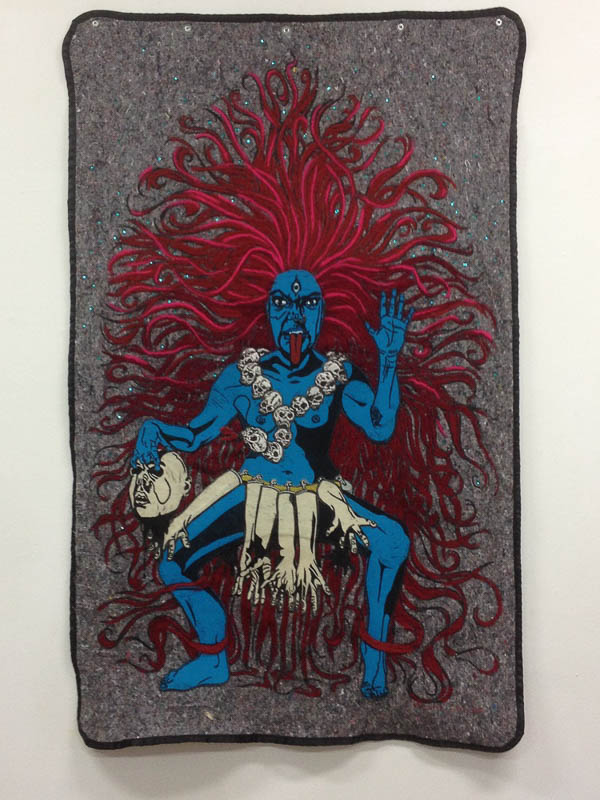 My inner Kali  2016  self-portrait  140 x 200 cm.  lino-print on blanket, appliqué, needle felting and embroidery