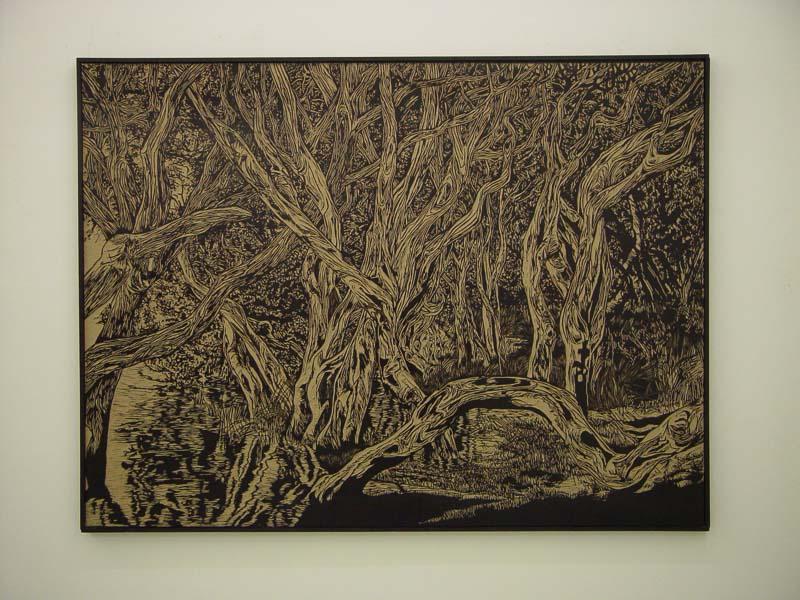 Norman's beach, safe, lino-cut,138x183 cm., 2004