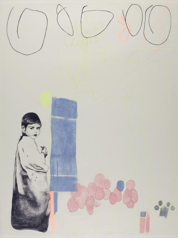 tekenen, 1998, 75x100 cm., ballpoint drawing on kite paper